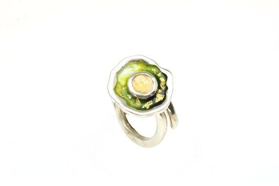 #Citrine #Gemstone,#November #Birthstone,Statement Ring, Sterling Silver Ring, Green Enamel Ring, Under 100 €87.50 EUR