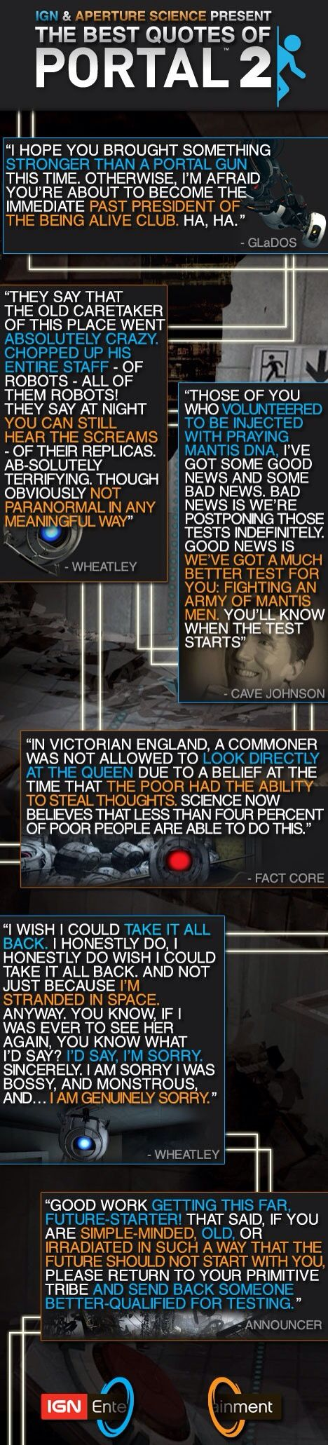 Best quotes from one of the best games. Portal 2