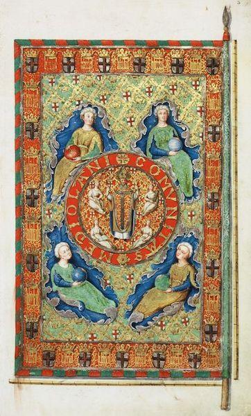 Ipotetico (vedi Giulia Bologna, Milano e il suo stemma, pagg. 120-121) vessillo della Repubblica Ambrosiana di Milano, che durò dal 13 agosto 1447 fino al 1450. Catturato dagli svizzeri, fu riprodotto in questo disegno del 1649 (l'esemplare ritratto, conservato a Friburgo, è poi andato perduto). Rappresenta sant'Ambrogio, patrono di Milano, circondato dalla virtù teologali, in un medaglione a sua volta circondato dalle allegorie dei quattro elementi.