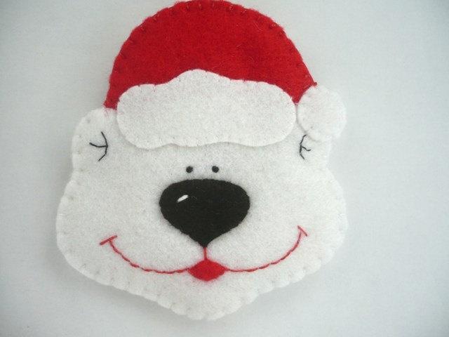 carita de oso con gorro de navidad