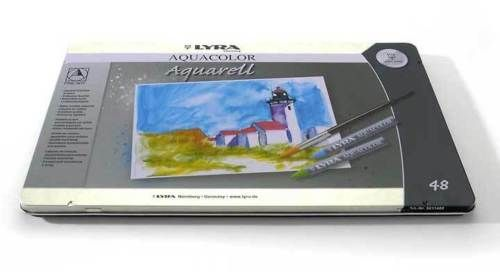 LYRA-5611480-AQUACOLOR-Aquarell-Kuenstler-Kreiden-48-Stifte-im-Metalletui-NEW