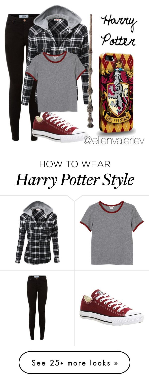 """HP Outfits: Harry Potter"" by ellenvaleriev on Polyvore featuring Converse and Monki"