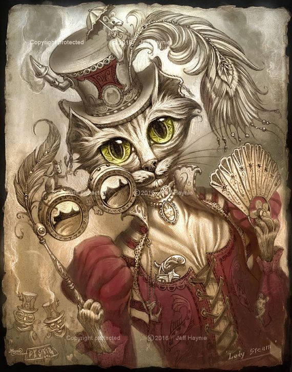 Steampunk Cat Lady // 8 x 10 print // Cat print by JeffHaynieArt