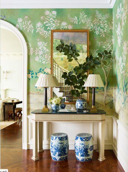 Gracie walls, blue and white porcelain, symmetry - Ashley Whittaker Design, Park Ave Duplex