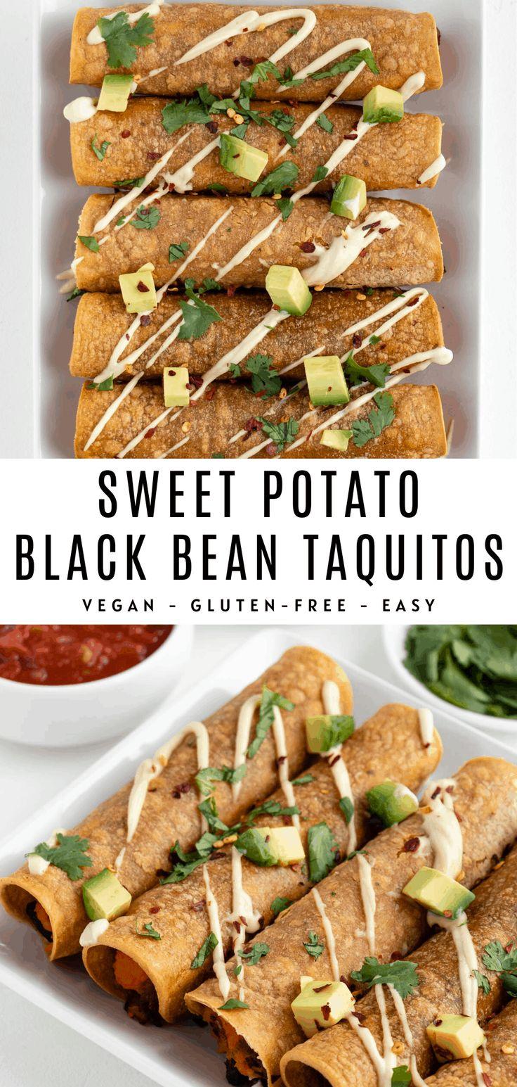 Sweet potato black bean taquitos are vegan, gluten-free, crispy, crunchy, and easy to make! Enjoy these plant-based taqu…