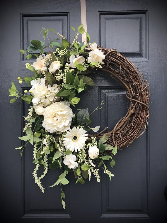 White Wreaths Wedding Wreaths Wedding Decor White Door Wreaths Year Round Wreaths Mourning Wreath Funeral Wreath White Door Decor White Wreath Wedding Wreaths Door Wreaths