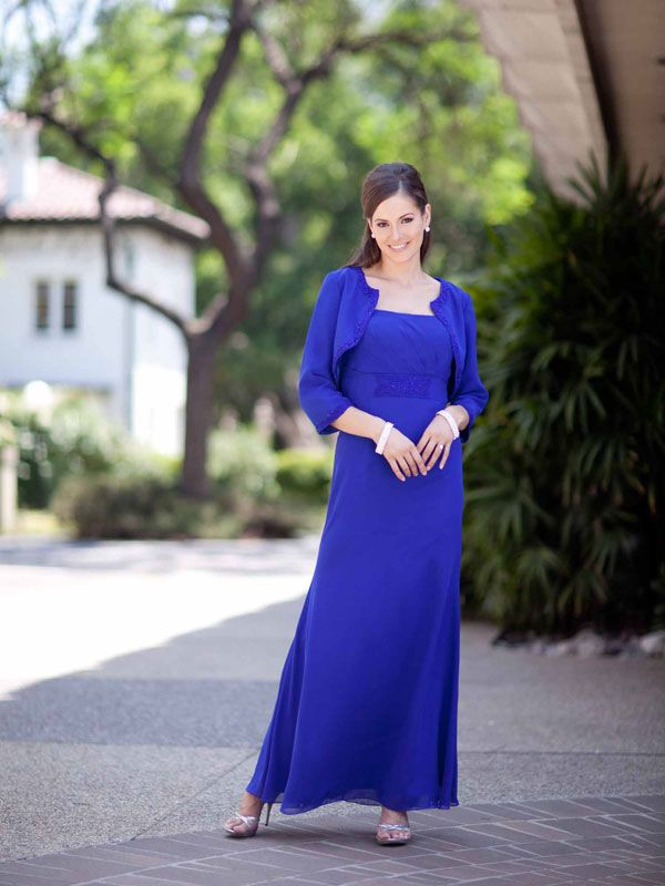 Pretty A-line empire waist chiffon mother dress of the bride