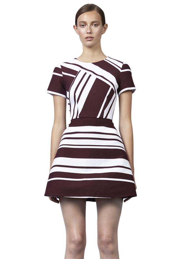 BY JOHNNY  - Pinot Stripe Mini Dress - Burgandy White