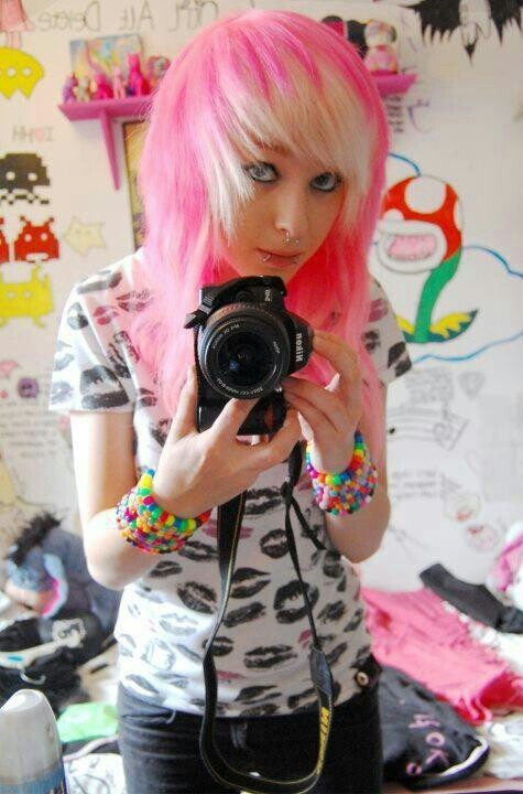 pink and blonde scene hair.