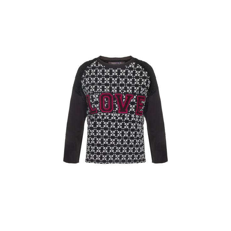 """Naughty Dog #FW1415 black & white #jacquard blouse with college style """"LOVE"""" application."""