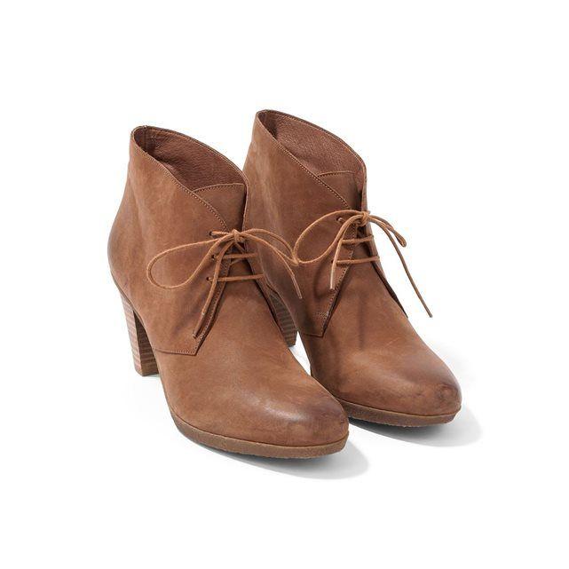 Low boots femme cuir à lacets talon haut, GINAMA