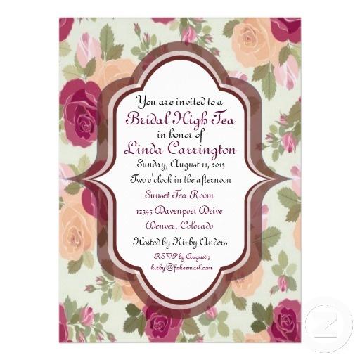 Custom bridal high tea invitations high tea invitations for Zazzle custom t shirts