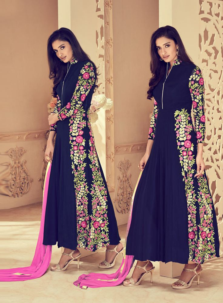 Buy Navy Blue Faux Georgette Long Anarkali Suit 88770 online at lowest price from vast collection at m.indianclothstore.c.