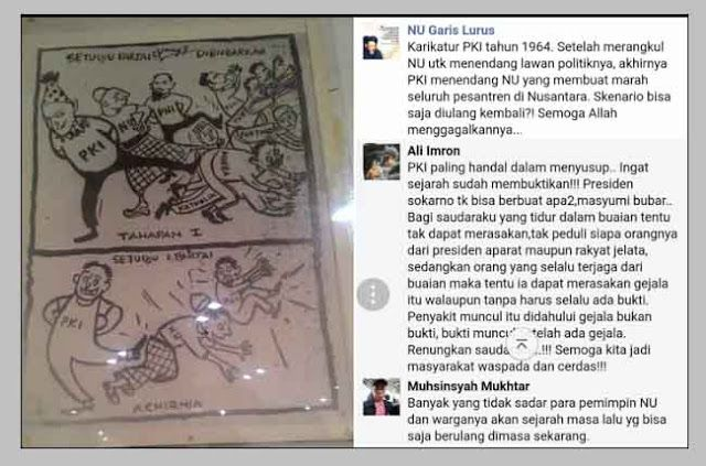 Berita Islam ! Mengerikan! ini Karikatur 1964 Cara Licik Komunis Tipu NU Waspada Jangan Terulang Kembali... Bantu Share ! http://ift.tt/2ugsvAV Mengerikan! ini Karikatur 1964 Cara Licik Komunis Tipu NU Waspada Jangan Terulang Kembali  Harian BERITA INDONESIA pada 20 Juni 1964 menampilkan KARIKATUR yang menggambarkan KELICIKAN PKI menyingkirkan LAWAN-LAWANNYA SATU DEMI SATU dengan POLITIK ADU DOMBA INTRIK dan INTIMIDASI. Gambar karikatur ini kembali diposting akun fanpage NU Garis Lurus pada…