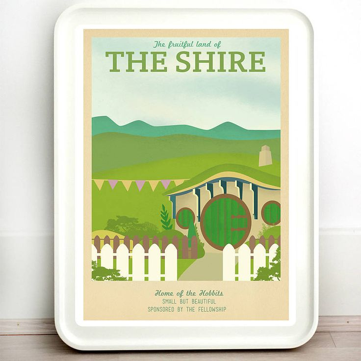 A high quality print taking you on a journey to The Shire.I offer a range of sizes so please don't forget to choose the one that best suits your needs! If you would like any of the text changed on the print, please let me know via the 'ask seller a question' button, and I can do it for you with no extra charge. Prints are not framed. Frame shows is only for decoration purposes.The one print to rule them all... Any fan of The Lord of the Rings or The Hobbit is going to love these retro travel…