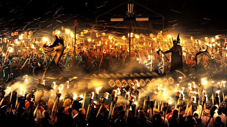 """10. Up Helly Aa Fire Festival - Scotland--occurs the last Tuesday of January each year. Marches, visitations, all ending with the burning of a replica of Viking longship or galley. Tradition dictates that the person serving as a guizer or """"jarl"""" has to be part of a certain committee for 15 years before being to take on that role. Only one person is admitted to the committee each year."""