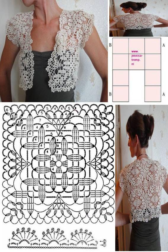 Beautiful crochet bolero with pattern | Crochetz.com