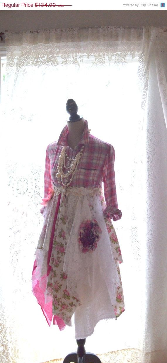 Pink Duster, Bohemian fall Dress, Boho dresses, Romantic lagenlook plaid dress…