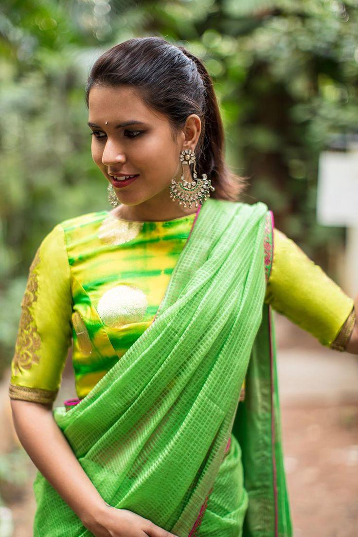 Lime Green gold Shibori brocade blouse with rich details #blouse #saree #houseofblouse #desi #indianwear #shibori #brocade #silk #limegreen #green #gold #applique #sleeve