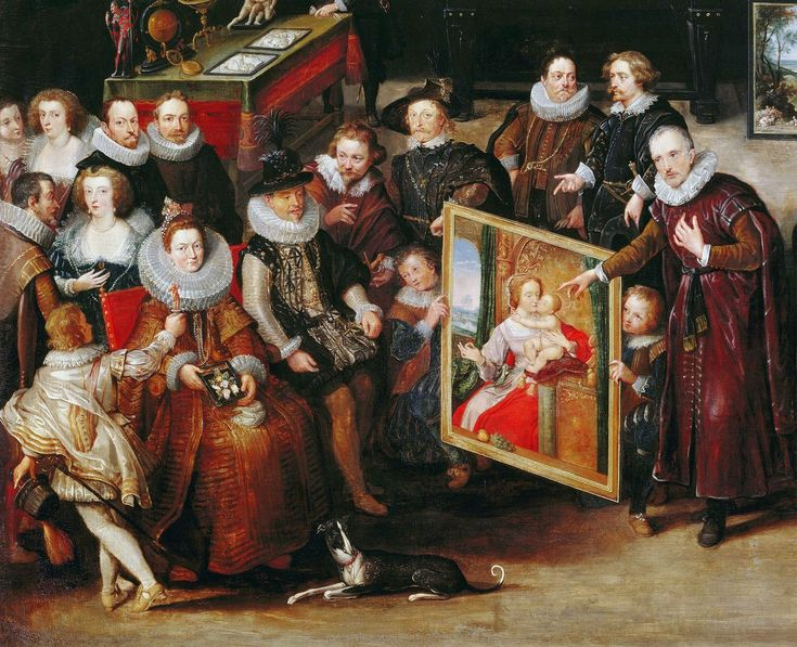 Detail of Gallery of Cornelis van der Geest by Willem van Haecht, 1628 (PD-art/old), Rubenshuis; in 1624, young Prince of Poland, Ladislaus Sigismund Vasa, the eldest son and heir of Sigismund III, embarked for a journey across Europe, as was in custom among Polish nobility. He travelled through territories of today's Germany, Belgium, Netherlands, where he admired the Siege of Breda by Spanish forces, France, Switzerland to Italy, Austria and Czechia