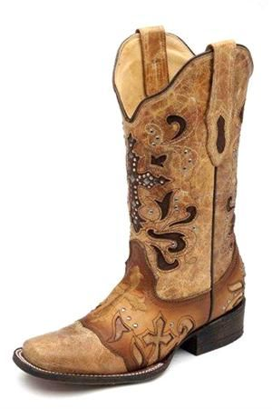Corral Antique Saddle Rhinestone Cross Cowgirl Boots