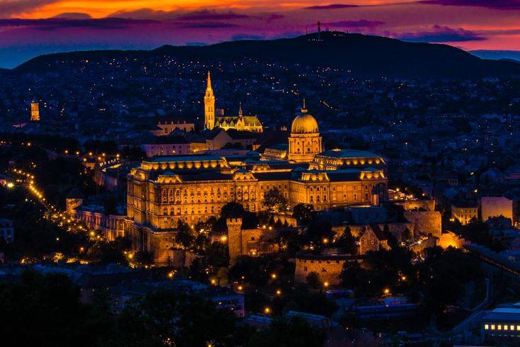 Sunset over Budapest - Buda Castle by Laszlo J.Kremmer