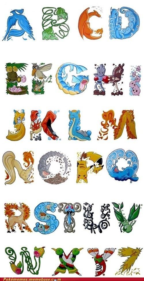 pokemon font / alphabet! i would so use these on wedding invitations ^.^