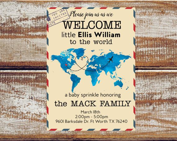 Travel baby sprinkle invitations travel theme sprinkle shower for baby welcome to the world baby shower map baby shower invitation retro