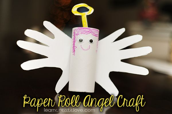 Handprint & Paper Roll Angel Craft.  Christmas craft for kids.