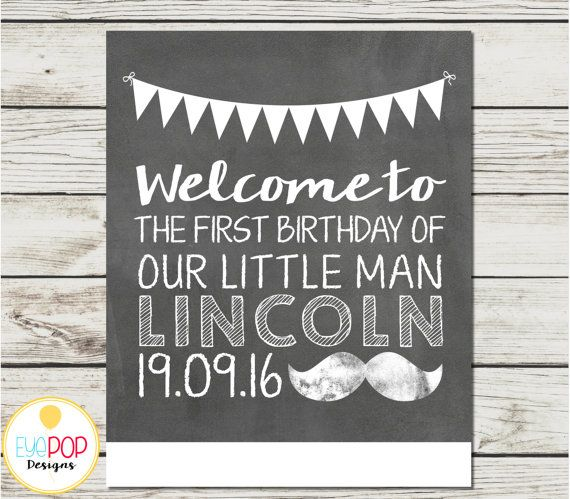 LITTLE MAN CHALKBOARD BIRTHDAY WELCOME SIGN  The perfect matching decor for an…