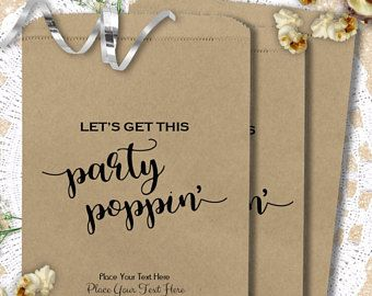 Let's Get This Party Poppin' Popcorn Bags - Birthday Graduation Wedding Anniversary Retirement Party Favors - Popcorn Bag - Quince - PBB600