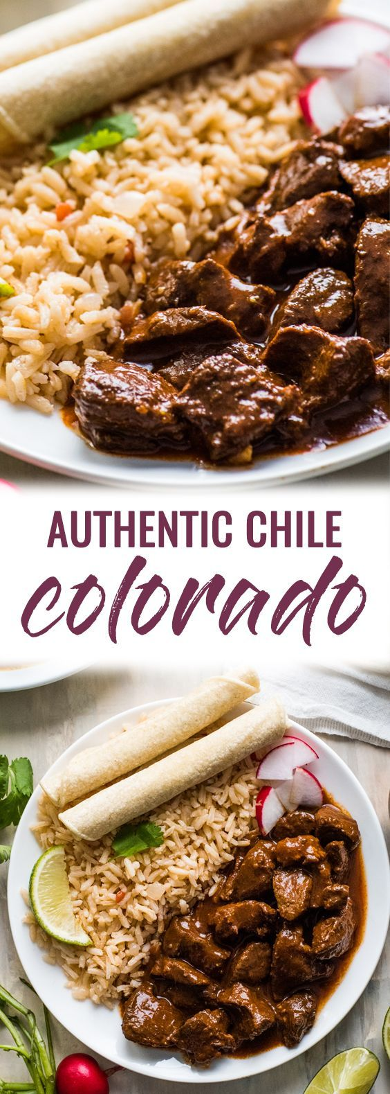 This Chile Colorado recipe combines tender pieces of beef with a rich and flavorful red chile sauce. Serve with rice for an authentic Mexican dinner!   beef stew meat   mexican beef   chili colorado   authentic mexican beef