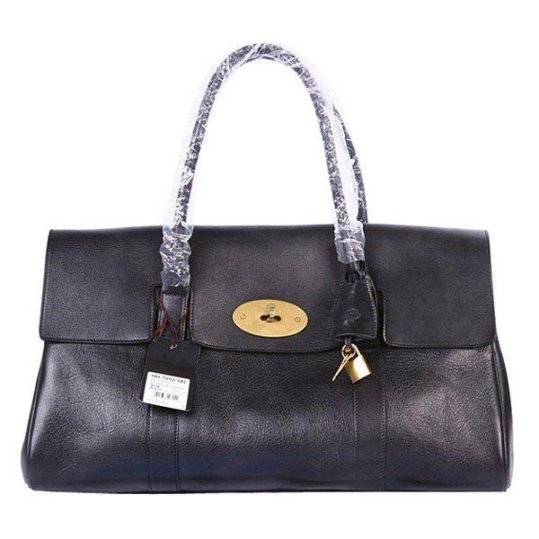 Mulberry Oversized East West Bayswater Leather Shoulder Bag Black ... 2f6337c184586