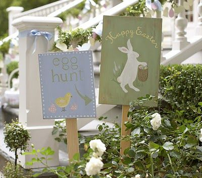 Easter signs.: Decor Ideas, Yard Signs, Barns Kids, Eggs Hunt'S, Spring Decor, Easter Bunnies, Easter Decor, Easter Eggs, Pottery Barns