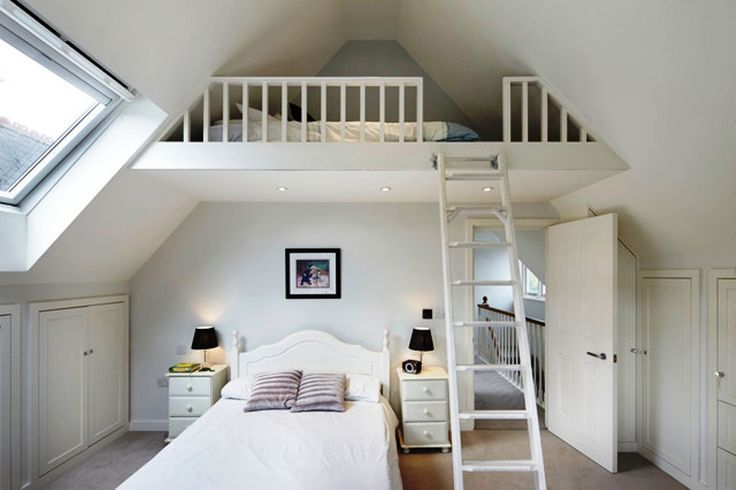Bed room White Loft Bed room Units With Easy Sturdy Ladder Additionally Cozy Trendy Twin Mattress And Small Minimalist Nightstands In addition to Inspiring Slanted Ceilings  Giant Frehs Window   Artistic loft bed room concepts with modern units Loft Design Concepts. Gray New Textured Ceilings. Mezzanine Loft Bed room Concepts.. >> Take a look at more by clicking the image link
