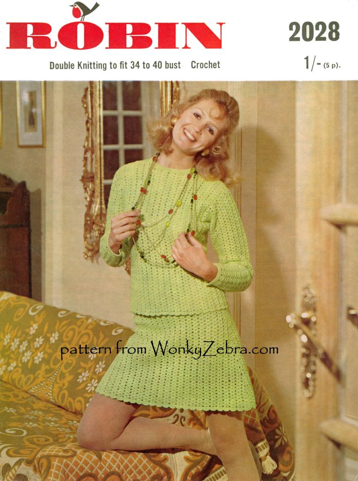 simple sweater suit in crochet shell stitch; number Robin2028. pattern PDF WZ119 from WonkyZebra,com.