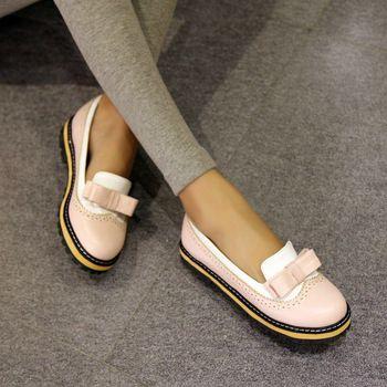 La primavera y el verano de 2015 zapatos planos británicos retro Oxford viento pastoral redondo mujeres bow