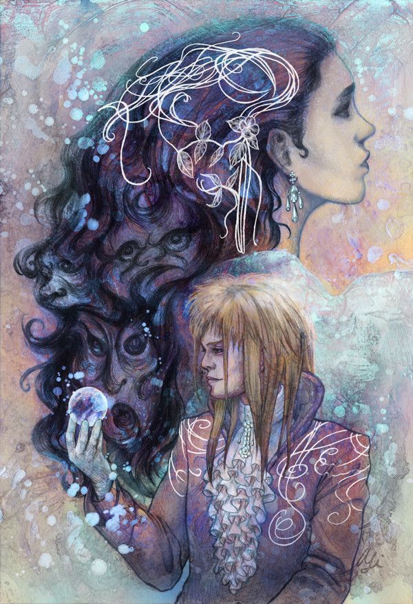 """Gallery 1988 celebrated the 30th anniversary of iconic films with its """"30 Years Later show, and I chose to portray Sarah (with some goblins hidden in her hair) and Jareth the Goblin King from Labyrinth for this event."""