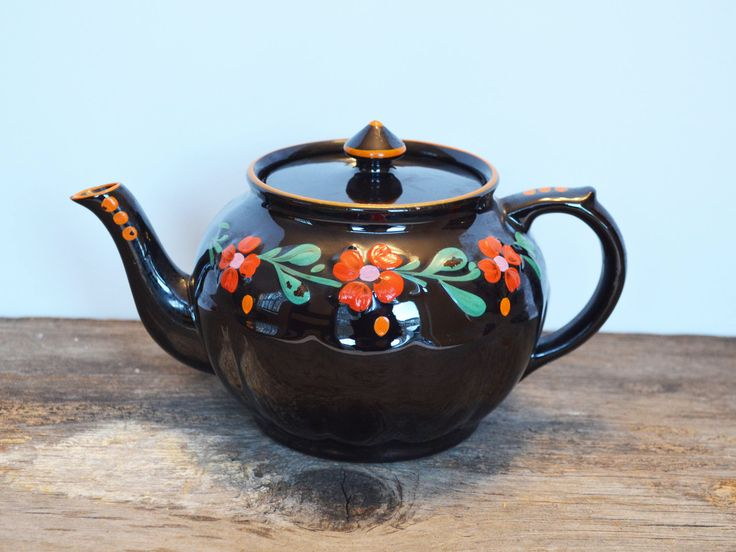 Vintage Gibsons England Redware Teapot, Hand-Painted with Florals on black, No. 796167, Boho Kitchen by Trashtiques on Etsy https://www.etsy.com/ca/listing/568995367/vintage-gibsons-england-redware-teapot