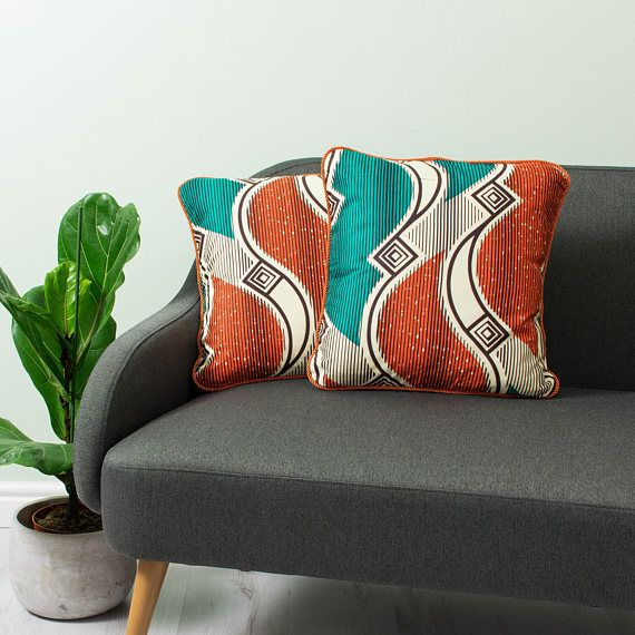 African cushion 2 set -Cushion African - African throw cushion - African throw pillow - Throw African cushion - Turquoise and orange waves & 85 best Bespoke Binny Pillows images on Pinterest | African prints ... pillowsntoast.com