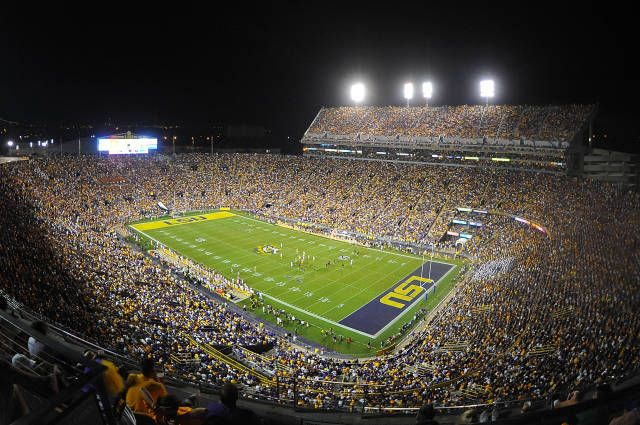 Louisiana State University | On gameday, Tiger Stadium becomes the fifth largest city in the state of Louisiana. You can check out the history of Tiger Stadium and check out the 360 degree views on their athletics site!
