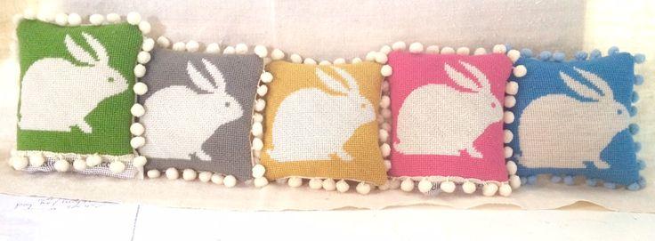A bunny pile up - lovely needlepoint mini kits at www.madinengland.com