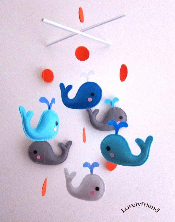 "Baby Crib Mobile - Baby Mobile - Mobile - Crib mobiles - Felt Mobile - Nursery mobile - "" Blue and Grey Whales"" design. $78.00, via Etsy."