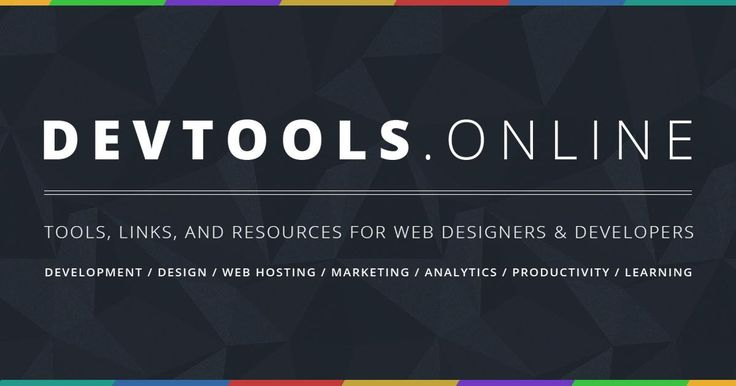 A massive online collection of tools, links, and resources for web designers & developers. Follow @devtoolsonline on Twitter for updates.