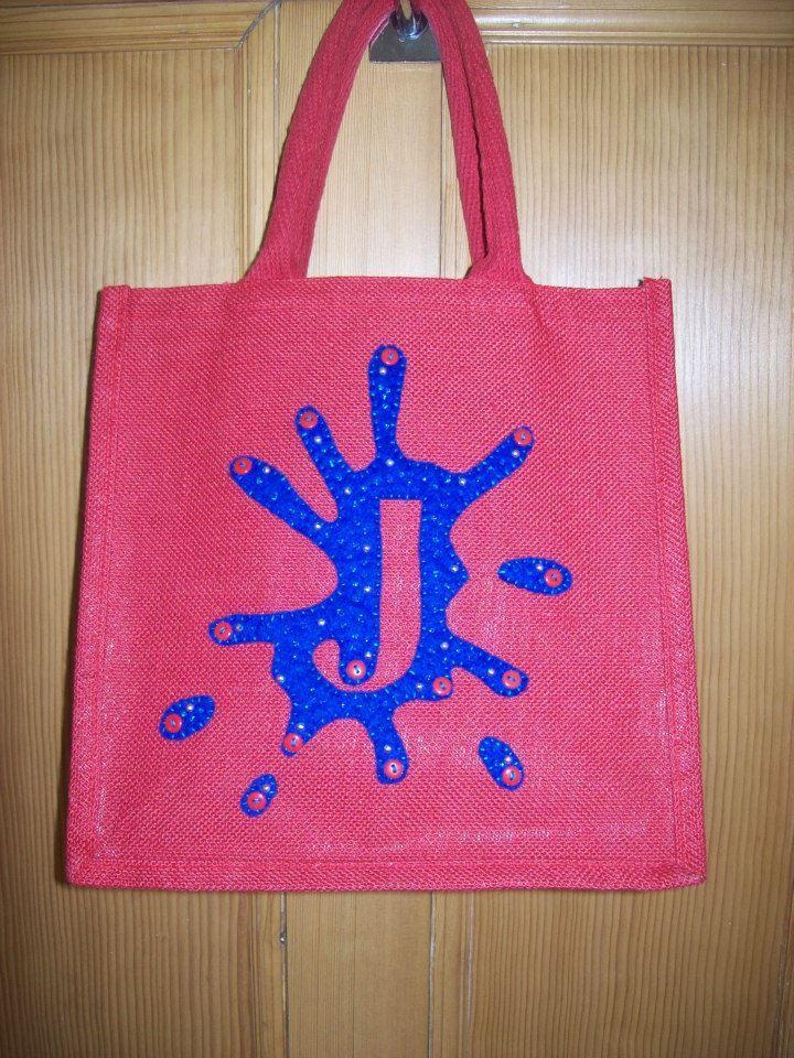 """""""J"""" Medium Luxury Unique Bespoke Hand Embellished Jute Bag."""