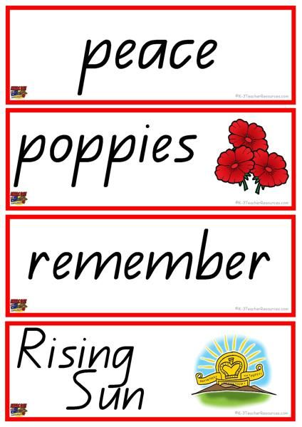 Anzac Day Vocabulary Words - Ideal for writing reference, literacy and classroom theme activities
