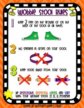 This product includes a one page poster describing the three main rules my students must follow in order to sit on a wobble stool in my classroom. If any of these rules are broken, students must trade in their wobble stool for a regular chair or other alternative seating option.
