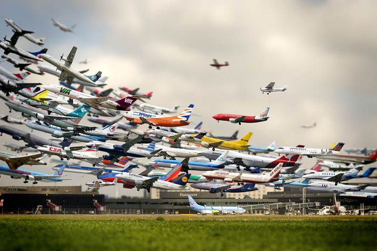Multi-exposure shot of takeoffs at Hannover Airport.