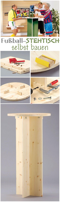 Ein Stehtisch für die nächste Party oder das gemeinsame Fußball gucken kannst du selbst bauen. Wir zeigen dir, wie du den simplen Stehtisch aus Holz in nur wenigen Schritten selbst machen kannst. Unser Modell haben wir dann auch noch passend zu EM gestrichen: In grün und mit einem Fußball-Dekor auf der Tischplatte.