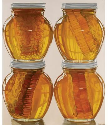 Honey Jars by Janet Fish. (Realistic painting) Source: http://www.askart.com/askart/artist.aspx?artist=34511